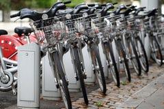 Velo'v stations. Details of  Velo'v, Grand Lyon offers you an innovative new bike service. Bike rental for greener transport Royalty Free Stock Photography