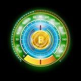 Velocímetro brilhante abstrato redondo mordido da moeda com setas e indicadores ilustração stock