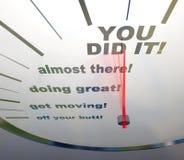 Velocímetro de motivación - usted lo hizo ilustración del vector