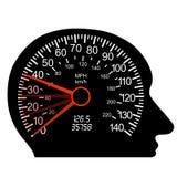 Velocímetro del coche en el cerebro humano Fotografía de archivo