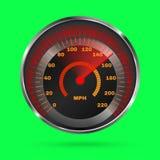 Velocímetro en fondo verde Imagen de archivo