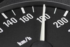 Velocímetro en 180 kilómetros por hora Imagenes de archivo