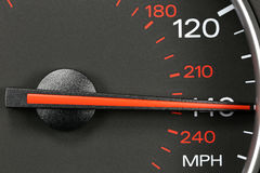 Velocímetro en 140 MPH Imagen de archivo