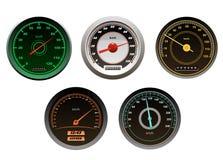 Velocímetros de los coches de competición fijados Imágenes de archivo libres de regalías