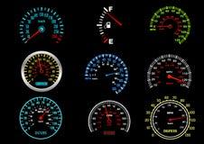 Velocímetros del coche Imagenes de archivo