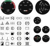Velocímetros e botões fotografia de stock