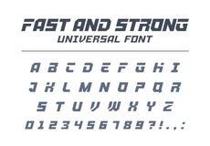 Veloce e forte, fonte dell'universale di alta velocità Metta in mostra, futuristico, la tecnologia, l'alfabeto futuro royalty illustrazione gratis