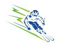 Velocidad apasionada Ski Player Athlete Logo en declive de los deportes de invierno Fotos de archivo libres de regalías