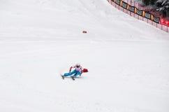 Velocidad de Melanie Burgener que talla al campeón 2011 del mundo Imágenes de archivo libres de regalías