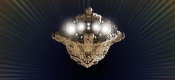 Velocidad ligera de acercamiento del crucero de batalla Fotos de archivo libres de regalías