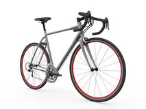 Velocidad que compite con la bicicleta aislada en el fondo blanco Imagenes de archivo