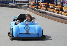 A velocidade é o que você precisa em Dawlish Warren vai karts maio de 2015 imagem de stock