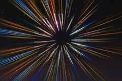 A velocidade abstrata alinha o movimento, com estrelas fundo, viagem espacial, conceito do curso do tempo Fotografia de Stock
