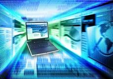 Velocidade do Internet do portátil do computador Fotografia de Stock