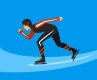 Velocidade que patina na pista de gelo ilustração stock