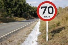 Velocidade reguladora da placa na estrada 70 4283 Imagem de Stock Royalty Free