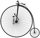 Velocipede. Black and white old velocipede Royalty Free Stock Photo