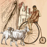 Velocipede - bicyclist. An hand drawn vector picture. Line art i Royalty Free Stock Photos
