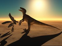 Velociraptor η τρισδιάστατη απόδοση δεινοσαύρων Στοκ εικόνα με δικαίωμα ελεύθερης χρήσης