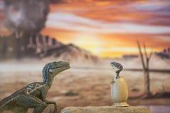 Velociraptor μωρών από το αυγό με το αρπακτικό πτηνό μητέρων Στοκ φωτογραφία με δικαίωμα ελεύθερης χρήσης