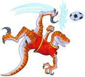 Velociraptor Bicycle Kicking Soccer Ball Vector Illustration. Cartoon clip art illustration of a velociraptor dinosaur in uniform bicycle kicking a soccer ball stock illustration