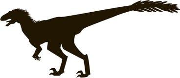 Velociraptor con las plumas, silueta Fotos de archivo libres de regalías
