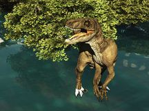 Velociraptor die Wiedergabe des Dinosauriers 3d Stockfotos