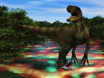 Velociraptor the dinosaur 3d rendering Royalty Free Stock Image