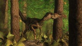 Velociraptor dinosaur in the forest - 3D render Stock Image