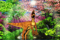 Velociraptor dinosaurus het 3d teruggeven stock illustratie