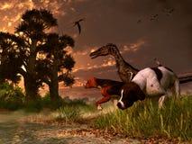 Velociraptor et chiens illustration stock