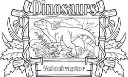 Velociraptor, kolorystyki książka Fotografia Stock