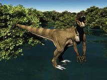 Velociraptor la rappresentazione del dinosauro 3d Fotografia Stock