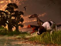 Velociraptor och hundkapplöpning stock illustrationer