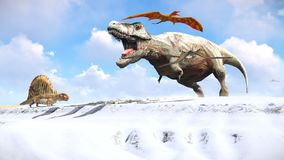 Velociraptor and pterodactyl 3d rendering Royalty Free Stock Images