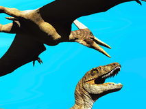 Velociraptor and pterodactyl 3d rendering Royalty Free Stock Photo