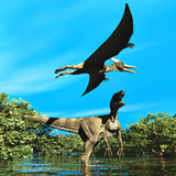 Velociraptor and pterodactyl 3d rendering Royalty Free Stock Photography