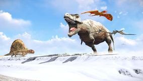 Velociraptor and pterodactyl 3d rendering Royalty Free Stock Image