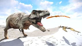 Velociraptor and pterodactyl 3d rendering Stock Images