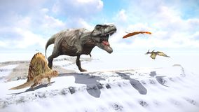 Velociraptor and pterodactyl 3d rendering Stock Image