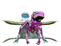 Free Velociraptor Robot In Front Of The Computer Console Royalty Free Stock Photo - 165158505