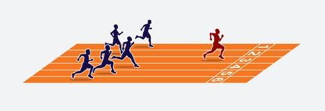 Velocistas o vencedor na pista de atletismo ilustração royalty free