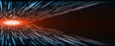 Velocità astratta del filo di ordito del movimento di rettangolo di prospettiva di tecnologia con la luce rossa d'ardore del cent royalty illustrazione gratis