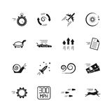 Velocity, speed and performance vector icons isolated on white background Stock Photos