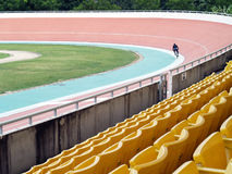 Velodrome Stadium, Cyclists practicing cycling Stock Photo