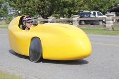 Velomobile, coche de la bicicleta o bici reclinada Foto de archivo libre de regalías