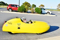 Velomobile human powered  ride Stock Photography