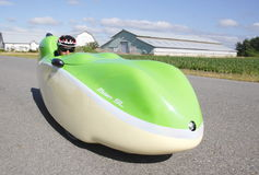 Velomobile or Recumbent Bicycle Stock Photo