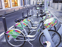 Velopop bicycle sharing station in Avignon, France Stock Photography