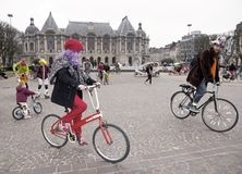 The Velorution Lille (59 Nord, France) Saturday, March 14, 2015, in front of the Palais des Beaux Arts. Royalty Free Stock Photo
